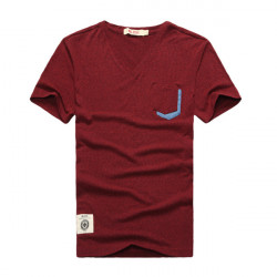 Mens V-hals Pocket Kortærmet T-shirt Fit Mode Tops