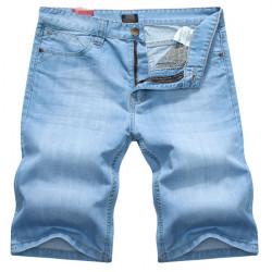 Herren Wash Blue Jeans Thin Slim Fit gerade Denim Kurzschluss Jeans