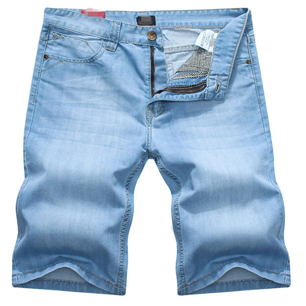 Mens Wash Blue Jeans Thin Slim Fit Straight Denim Short  Jeans Men's Clothing