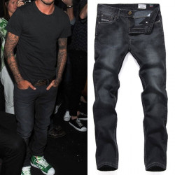 Män Washed Black Stars Style Straight Leg Bomull Casual Jeans