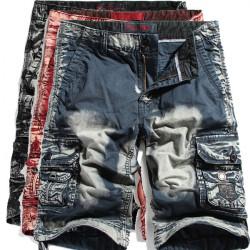 Män Tvättad Bomull Cool Shorts Multi Pockets Cargo Short Byxor