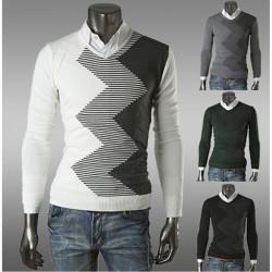 Män Wave Patterm Blandningar Färger Slim V-veck Pullover Sweater