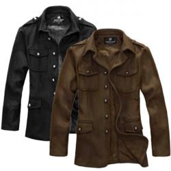 Men's Western Stand Collar Jacket Coat Slim Thin Woolen Overwear