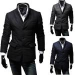Herren Winter Baumwolle gefütterte warme beiläufige Klage Mantel Jacken Mantel Herrenbekleidung