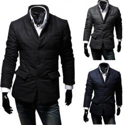Men's Winter Cotton Padded Warm Casual Suit Coat Jacket Overcoat