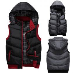 Mens Winter Solid Color Hooded Padding Vest Coat