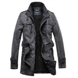 Mens Winter Thick Long Denim Jacket Warm Outdoor Overcoat