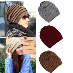 Mens Womens Knit Winter Skull Ski Crochet Beanie Neck Warmer Hat