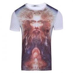 T Shirt mit Männerkopf Pferdetotenkopfaufdruck