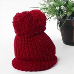 Unisex Knit Cap Oversized Cuffed Beanie Crochet Ski Bobble Hat