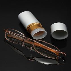 Vit Aluminiumskal Pen Container Läsglasögon