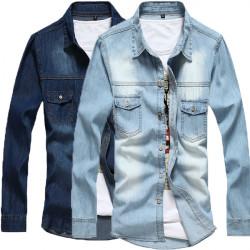 Wholesale Men Shirt Long Sleeve Cotton Outwear Turn-down Collar Shirt