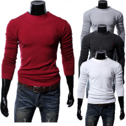 Winter Autumn Men Embroidered Deer Crew-neck Sweater Pullover Knitwear