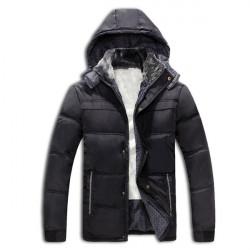 Winter Männer beiläufige Mantel verdickt mit Kapuze aus Baumwolle warme Daunenjacke