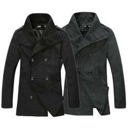 Winter Männer beiläufige Mantel Schulterklappen Wolle mit langen Trenchcoat