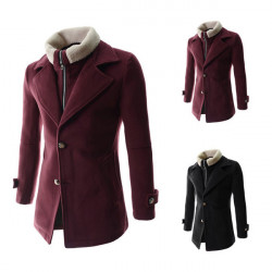 Winter Mens Fashion Coat Detachable Fake Two Lambs Wool Warm Jacket