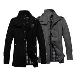 Winter Männer lange Mantel beiläufige Art und Weise Woll dünne Windjacke