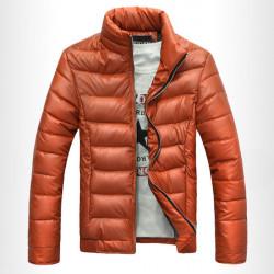 Winter Herren Warm Lässige Baumwolle gefütterte glänzende PU Leder Im Freien Mantel