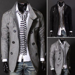 Winter Mens Woolen Warm Outwear Double-breasted Slim Long Trench Coat Men's Clothing