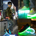 Barn Tonåring LED-ljus Sneakers PU läder Kid Casual Shine Boys Girls Lace Sports Gummi Skor