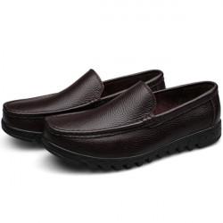 Mens Black Genuine Leather Business Shoes Plus Size Flats