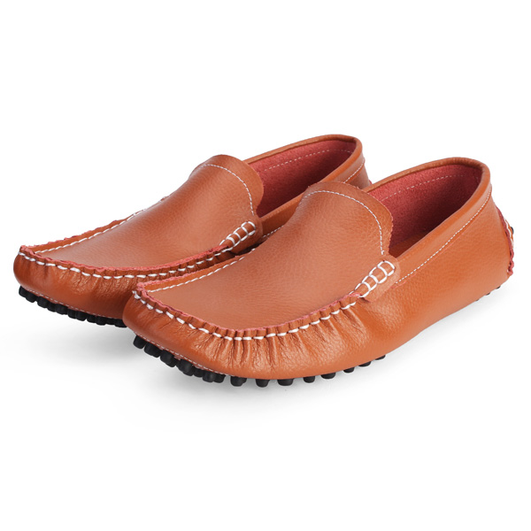 Män Svart Vit Oxford Skor Läder Körning Mockasiner Loafer Herrskor