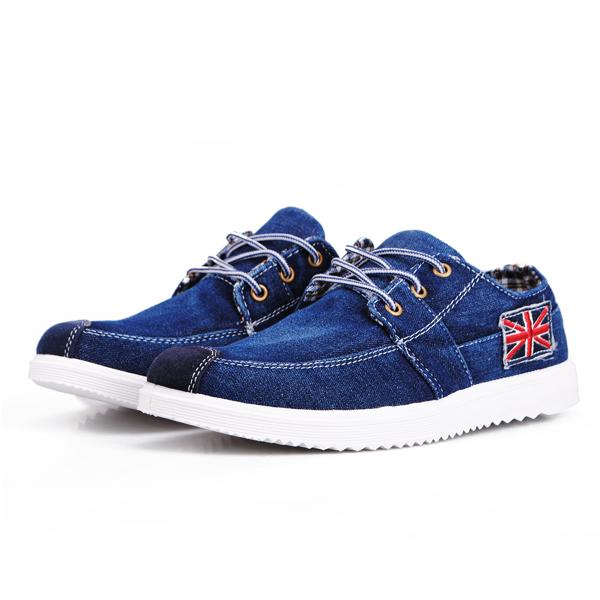 Herren britische Art Imitation Jeans Segeltuchschuhe Wohnungen Herren Schuhe