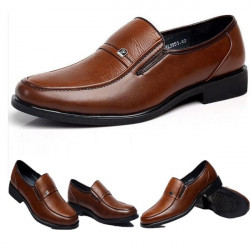 Mens Brown Oxford Shoes Genuine Leather Work Business Dress Loafers