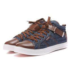 Segeltuch Imitation Jeans Schuhe High Top Flats