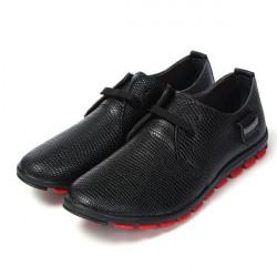 Mens beiläufige Tier Textur Lace Up Oxford Kunstleder Schuhe