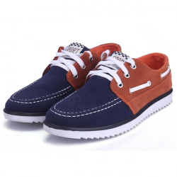 Mens PU Leather Contrast Color Shoes Fashion Casual Flats