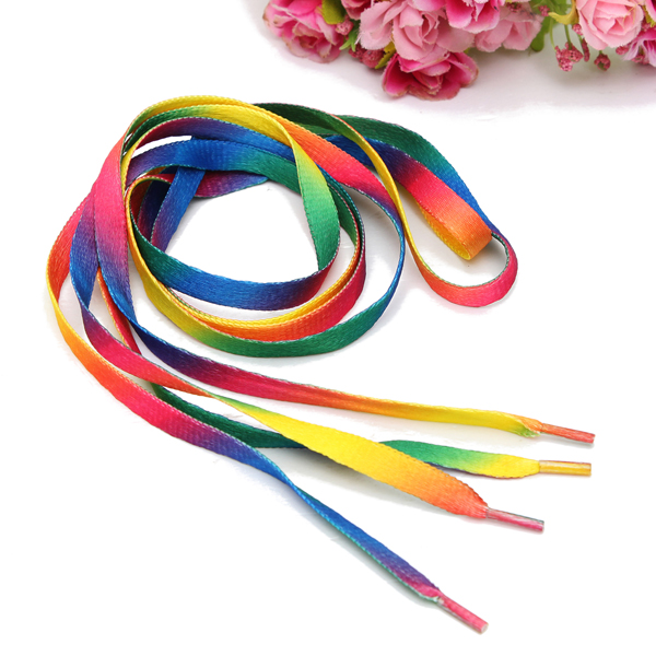 Mens Shoelaces Rainbow Multi-Colors Flat Shoe Laces Men's Shoes