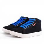 Mens Stjerne Sole Sko High Top Sort Blå Sneakers Herresko
