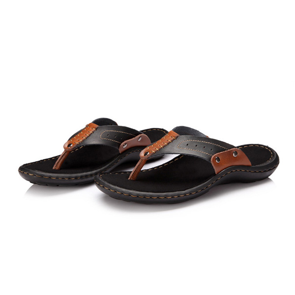 Mens Summer Cowhide Slippers Comfortable Beach Flip Flops Leather Slippers Men's Shoes