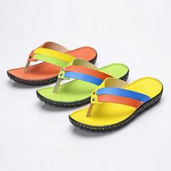 Ny Design Mode Flip Flops Tofflor Handgjort Läder Flip Flops Tofflor