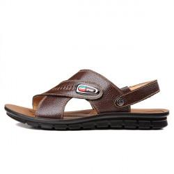 Nye Mænds Casual Sandals Summer Udendørs Beach Sko Læder Slipper
