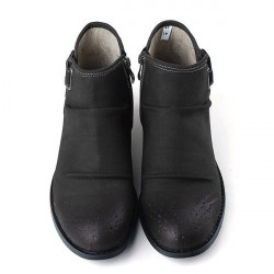 Winter Men Casual Leather Shoes Fashion Side Zip Buckles Ankle Boots