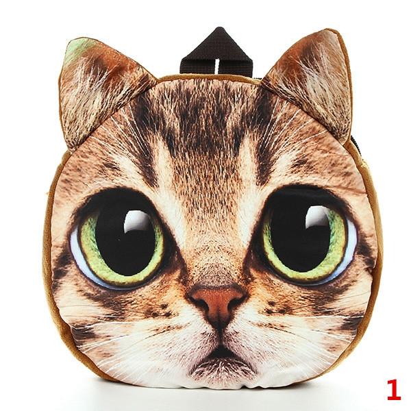 3D Cartoon Hund Katze Gesichts Muster Frauen Rucksack Tierschul Damentaschen für Frauen