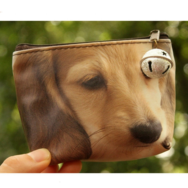 3D Dog Cat Face Printing Purse Zip Coin Wallet Women Clutch Bag Women's Bags
