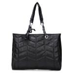 Black PU Leather Plaid Handbag Women's Bags