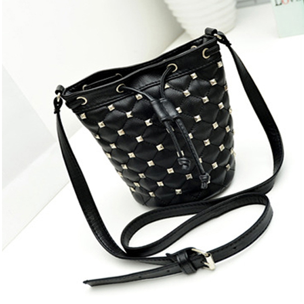 Black Rivet Drawstring Women Cross Body Bag Women's Bags