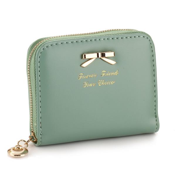 Bow Candy Colors Zipper Short Purse Women's Bags
