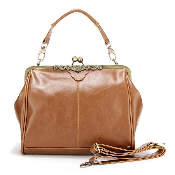 Braun Metall PU Leder Handtasche Damentaschen für Frauen