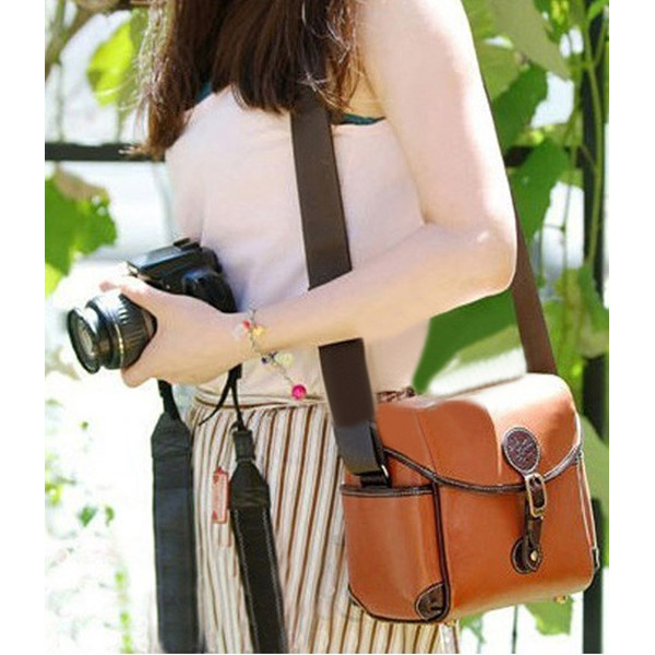 Brown PU Leather Camera Bag For DSLR Women's Bags