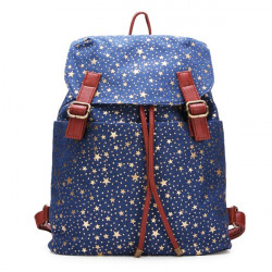 Canvas Stars Pattern Belt Decorated Backpack
