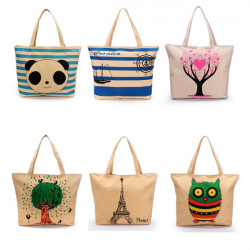 Cartoon Segeltuch Frauen beiläufige Handtaschen Tote Einkaufsschultertaschen Strandtaschen