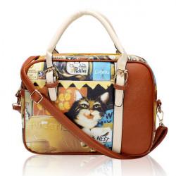 Cartoon Katze Printing Frauen Casual Schultertasche Weinlese Handtasche