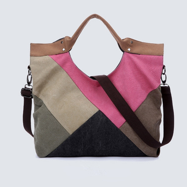 Casual Stitching Bag Women's Shoulder Bags Canvas Handbag Women's Bags