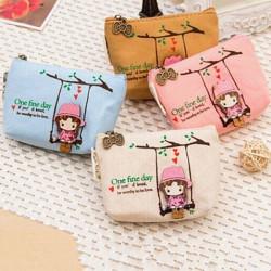 Cute Girl Coin Bag Key Pouch Zipper Canvas Wallet Card Purse