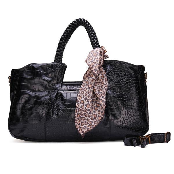Beiläufige Art und Weise Krokodil Korn mit Leopardenmuster Schal Handtasche Damentaschen für Frauen